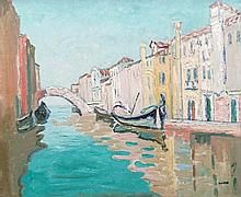 Letitia Marion Hamilton RHA (1878 - 1964) The Canal Venice Oil on canvas