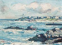 Attributed to Eva Henrietta Hamilton (1876-1960) Coastal Town Oil on board