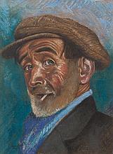 Harry Kernoff RHA (1900 - 1974) Portrait of a man wearing a cap Conte, 37 x
