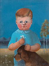 Beatrice Salkeld (1925-1993) Boy with Dog Oil on canvas, 42 x 32 (16½ x 12½