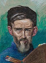 Harry Kernoff RHA (1900 - 1974) Portrait of Seán Keating PRHA Oil crayon, 4