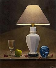 Padraig Lynch (b.1936) Still Life with Table Lamp Oil on canvas, 60 x 50cm