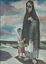 Gerard Dillon (1916 - 1971) Aran Woman and Child Oil on board, 38 x 28cm (1
