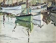 Mary Swanzy HRHA (1882-1978) Boats at Rest Oil on