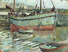 Mary Swanzy HRHA (1882-1978) Boats at Harbour Oil