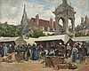 Stanhope Forbes RA (1857-1947) Breton Market, June Oil on board, 22 x 27cm (8¾ x 10½'') Signed Stanhope Forbes started his studies at Dulwich College of Art and The Royal Academy Schools and then travelled to Paris in 1880 where he studied under
