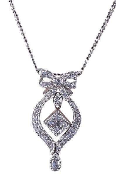 A diamond pendant, the pendant designed with a