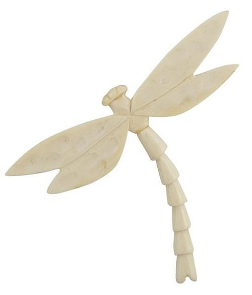 An early 20th Century ivory dragonfly brooch, the