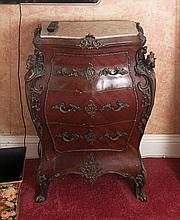 A LOUIS QUATORZE STYLE MAHOGANY BOMBE COMMODE, the marble top above three g