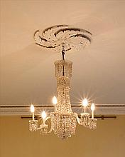 THE SIX LIGHT GLASS CHANDELIER, formed as a waterfall of drops and lusters,