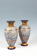 A GOOD PAIR OF DOULTON LAMBETH OVOID SHAPED VASES, the banded bodies, gilt
