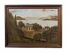 SCOTTISH PRIMITIVE SCHOOL, 19TH CENTURY  A Chapel by a mountain lake wi