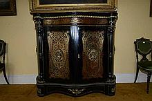 A LARGE 'BOULLE' EBONISED AND GILT METAL ENRICHED SERPENTINE SIDE CABIN