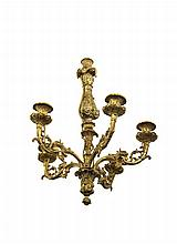 A FRENCH CAST BRASS FIVE LIGHT CHANDELIER, 19TH CENTURY, decorated with lion mask and foliate motifs (externally electrified). 59cm high
