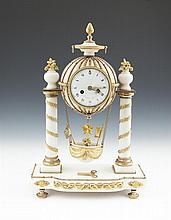 A FRENCH MARBLE AND ORMOLU MOUNTED 'BALLOON' MANTLE CLOCK, 19th century, modelled as a hydrogen air balloon and carriage, supported by leaf wrapped pillars, fitted with circular white enamel dial signed 'Dutertre A Paris' surrounded by Roman numerals
