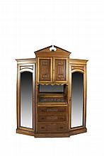 A  FINE VICTORIAN STAINED OAK BEDROOM SUITE, c.1890, comprising:- a breakfront wardrobe, with architectural pediment and central cupboard section flanked by angled mirrored doors- a marble top washstand, with raised superstructure and adjustable mi