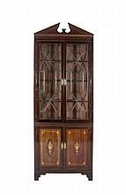A GEORGE III INLAID MAHOGANY LARGE CORNER CABINET, the architectural pediment above two glazed astragal doors, above a cupboard door base, the cupboard boards decorated with marquetry classical urns and stringing, raised on bracket supports. 94 x 247