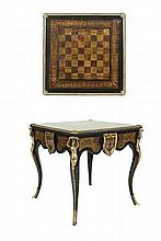 A VICTORIAN STYLE LOUIS XIV EBONY AND FAUX BOULLE SQUARE TOP GAMES TABLE, the top with inlaid chess board within an arabesque panelled border, with brass banding and female figural mounts, raised on cabriole legs terminating in hoof capped feet. 81cm