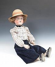 A CUNO & OTTO DRESSEL LARGE 'FASHION LADY' DOLL, with bisque head stamped 'Cuno & Otto Dressel', gla