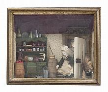 A 19TH CENTURY DIORAMA ENTITLED 'THE SCULLERY MAID', depicting three figures in a kitchen complete w