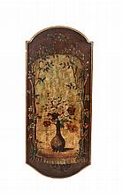 A SHAPED RECTANGULAR DECORATIVE PANEL, with arch top and bow-end, painted with a vase of flowers wit