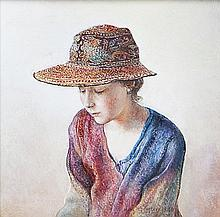 MARY CARTER (20TH CENTURY) The Kalaga Hat Watercolour, 7.2 x 7.2cm Signed and dated 1996  Provenance