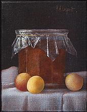 HENRI-ALAIN LESPRIT (b.1933) Still Life Study of Pot of Jam and Fruit Oil on canvas, 18 x 14cm Signe