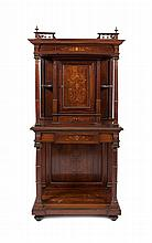 AN EDWARDIAN INLAID ROSEWOOD UPRIGHT SIDE CABINET of architectural form in two stages, with moulded
