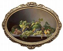 LUIS SEVIL (1817-1893) Still life of fruit, grapes, melons and peaches on a marble ledge Oil on canv