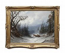 ALDOLF SCHREYER (1828-1899) Loading firewood in a Snowy Forest Landscape Oil on canvas, 67 x 92cm Si