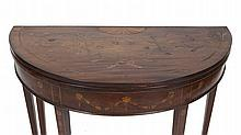 A GEORGE III MAHOGANY AND MARQUETRY INLAID FOLD OVER TEA TABLE, of semi elliptical form, the shaped