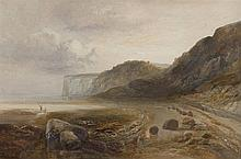 J. V DE FLEURY (19TH CENTURY) Figures Fishing by the Shore  Oil on canvas, 49 x 75cm Signed