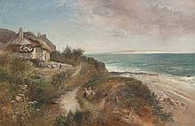J. V DE FLEURY (19TH CENTURY) Figures and Cottage by the Coast Oil on canvas, 49 x 75cm  Signed and