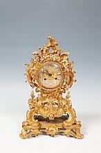 A FRENCH GILTMETAL MANTLE CLOCK, 19th century, in the Rococo taste, with half-hour striking, the wai