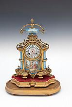 A FRENCH ORMOLU AND PORCELAIN MOUNTED MANTLE CLOCK, 19th Century, stamped 'Japy Freres'  the case su