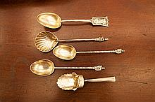 A SMALL COLLECTION OF SILVER SPOONS including a