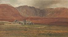 ALEXANDER WILLIAMS RHA 1846-1930Corrymore, Achill IslandOil on canvas, 24 x 44.5cm (9½ x 17½ )Signed and inscribed with titleThis is a view of Corrymore House near the village of Dooagh on Achill Island. The house was built in 1845 for the Blac