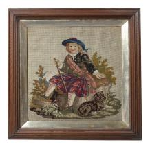 A FRAMED VICTORIAN NEEDLEWORK SAMPLER, of square form, depicting a young shepherdess with dog, 41 x 41cm; together with an embroidered silk fire screen, framed, of oval form, depicting floral arrangement and with trailing floral border, 18 x 41cm (2)