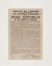 THE PROCLAMATION OF THE IRISH REPUBLIC A printed reduced facsimile of the original Proclamation, closely following the type-style of the original but replacing imperfections in the type, on a sheet of plain greyish paper 36.8 x 25 cms, the sheet rec