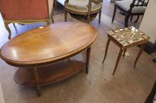 ***ADDITIONAL LOT***A MODERN OVAL COFFEE TABLE;together with a small modern inlaid occasional table. (2)