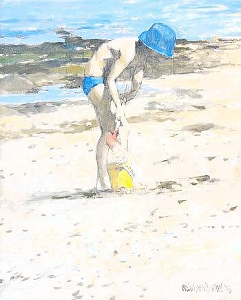 Brian Denington (20th Century) Boy on Beach Oil on