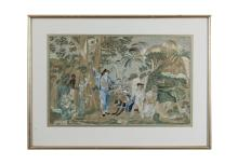 A PAIR OF 18TH CENTURY NEEDLEWORK PANELS depicting plantation scenes with figures. 30 x 46cm