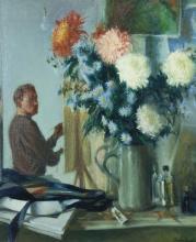 Thomas Ryan PPRHA (b.1929)A Self Portrait in Studio with FlowersOil on board
