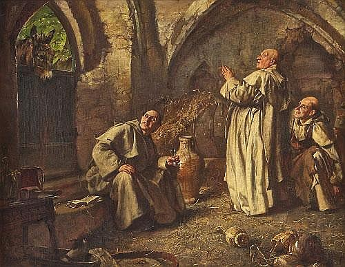 EDGAR BUNDY (1862-1922) Caught Out, Three Monks