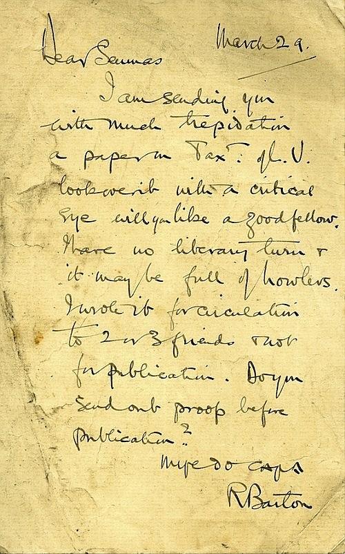 ROBERT BARTON An autograph letter signed R. Barton