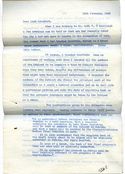 EAMON DE VALERA An eight page typed letter (carbon