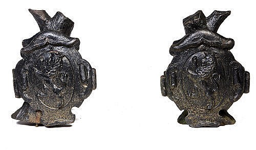 A PAIR OF 19TH CENTURY CAST IRON GATE CAPS, cast