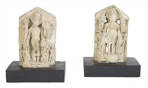 A PAIR OF INDIAN CARVED SANDSTONE FRAGMENT PANELS,