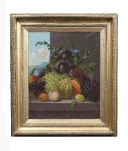 19th Century English School  Still Life with Grapes and Seasonal Fruits