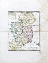 Isaac Tirion 1744  Nieuwe kart van Ireland  Colour engraving, 276 x